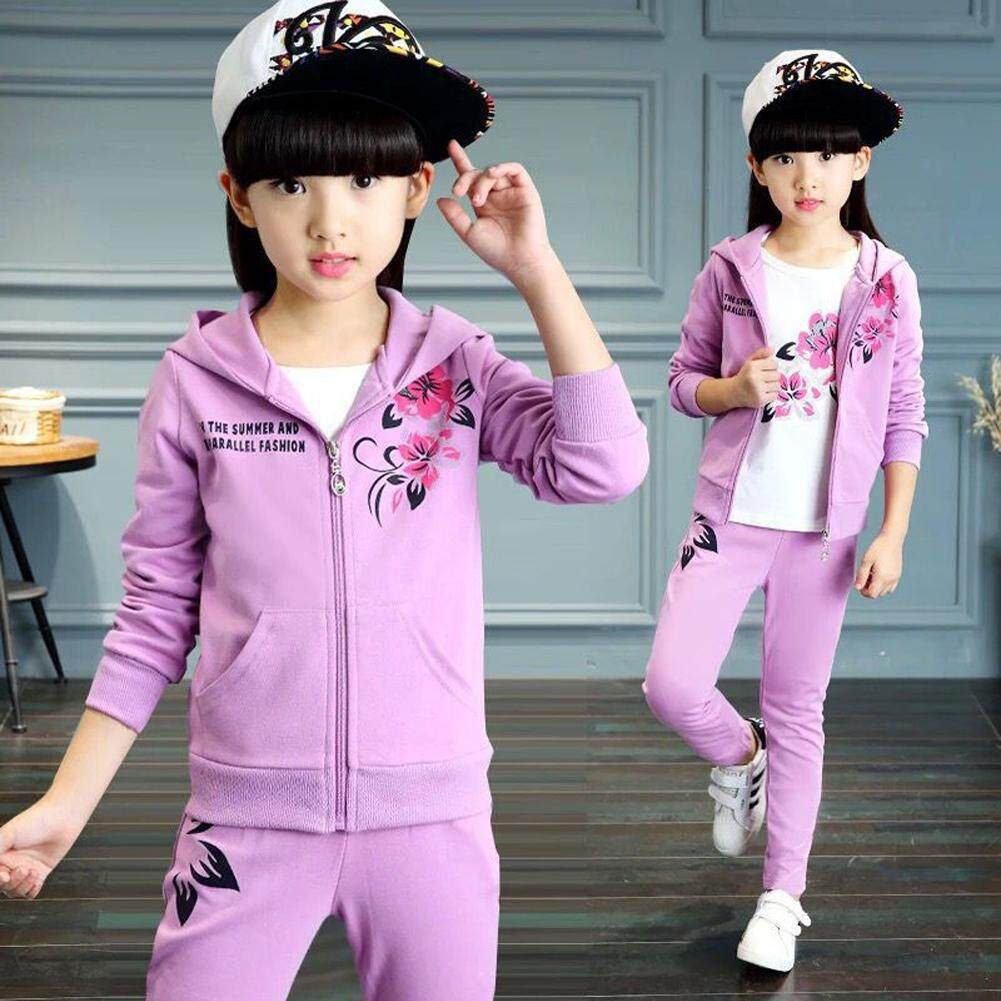 2pcs//set Kids Baby Girls Long Sleeve hooded coat Pants Clothes Outfits Suits