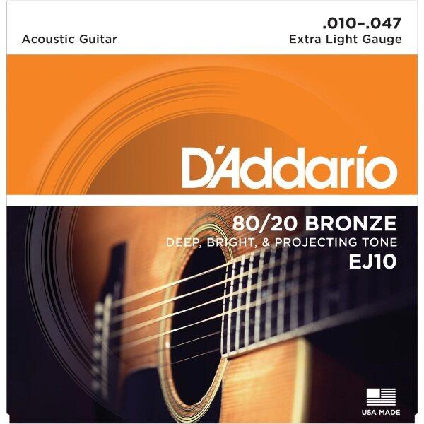 D'Addario EJ10 80/20 Bronze Acoustic Strings, Extra Light, 10-47 Malaysia