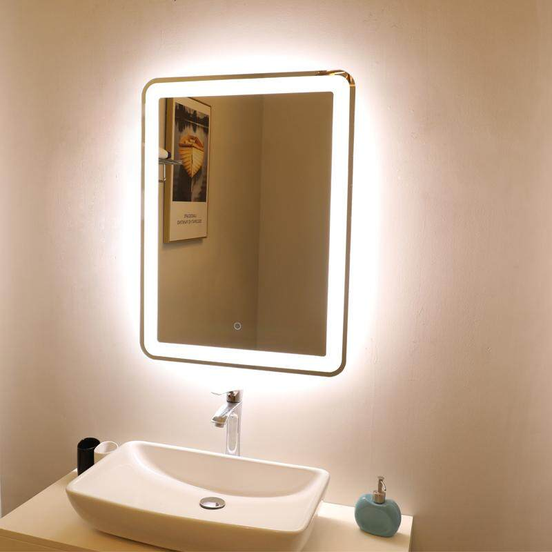 Square Wall Mounted Touch Sensor Switch Waterproof IP44 Led Lighting Bathroom Wall Mirror