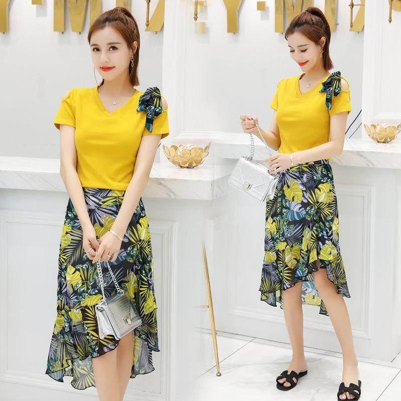 6c5d65fa6ed Women's Fashion Solid V-Neck Short Sleeve T-Shirt+Floral Print Long Skirt 2  Pieces Set