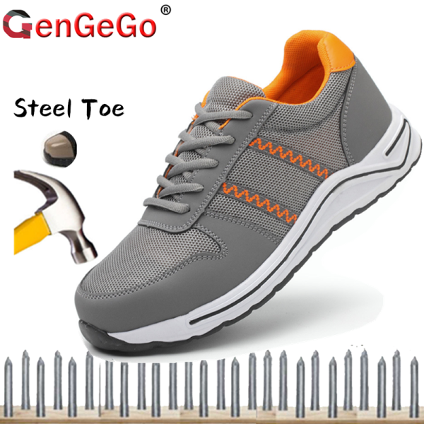 Brand GenGeGo 2020 New Men Steel Toe Shoes Work Safety Boot Shoes Breathable Slip On Work Boots Sneakers Shoes Anti-smashing Piercing Safety Shoes