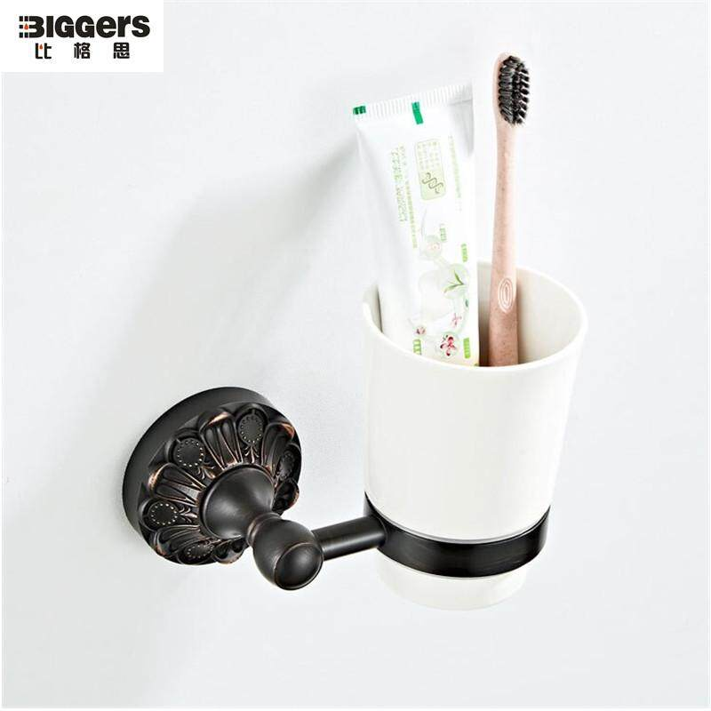 Biggers sanitary Europe style black bronze finish brass tumbler holder single tooth brush cup holder with ceramic cup