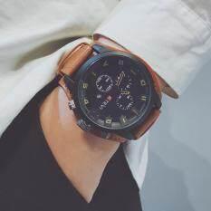 Đồng hồ pin thạch anh Bounabay nam, Đồng hồ đeo tay dây da cao cấp, Calendered, Phong cách thể thao đơn giản