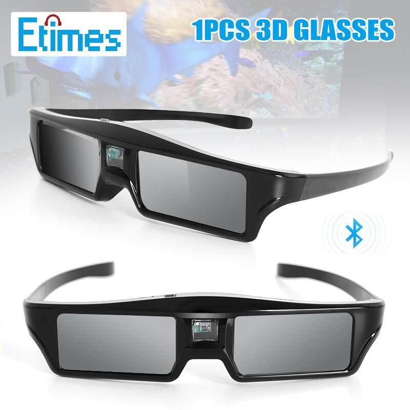 Etimes 3D Shutter Kacamata Bluetooth Definisi Tinggi Kacamata untuk DLP LINK TV Proyektor