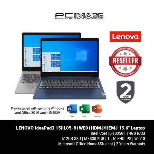LENOVO IdeaPad3 15IIL05-81WE01HDMJ/HEMJ 15.6 Laptop - Blue/Grey (i5-1035G1, 4GB, 512GB, MX330, Win10, OfficeH&S) Malaysia