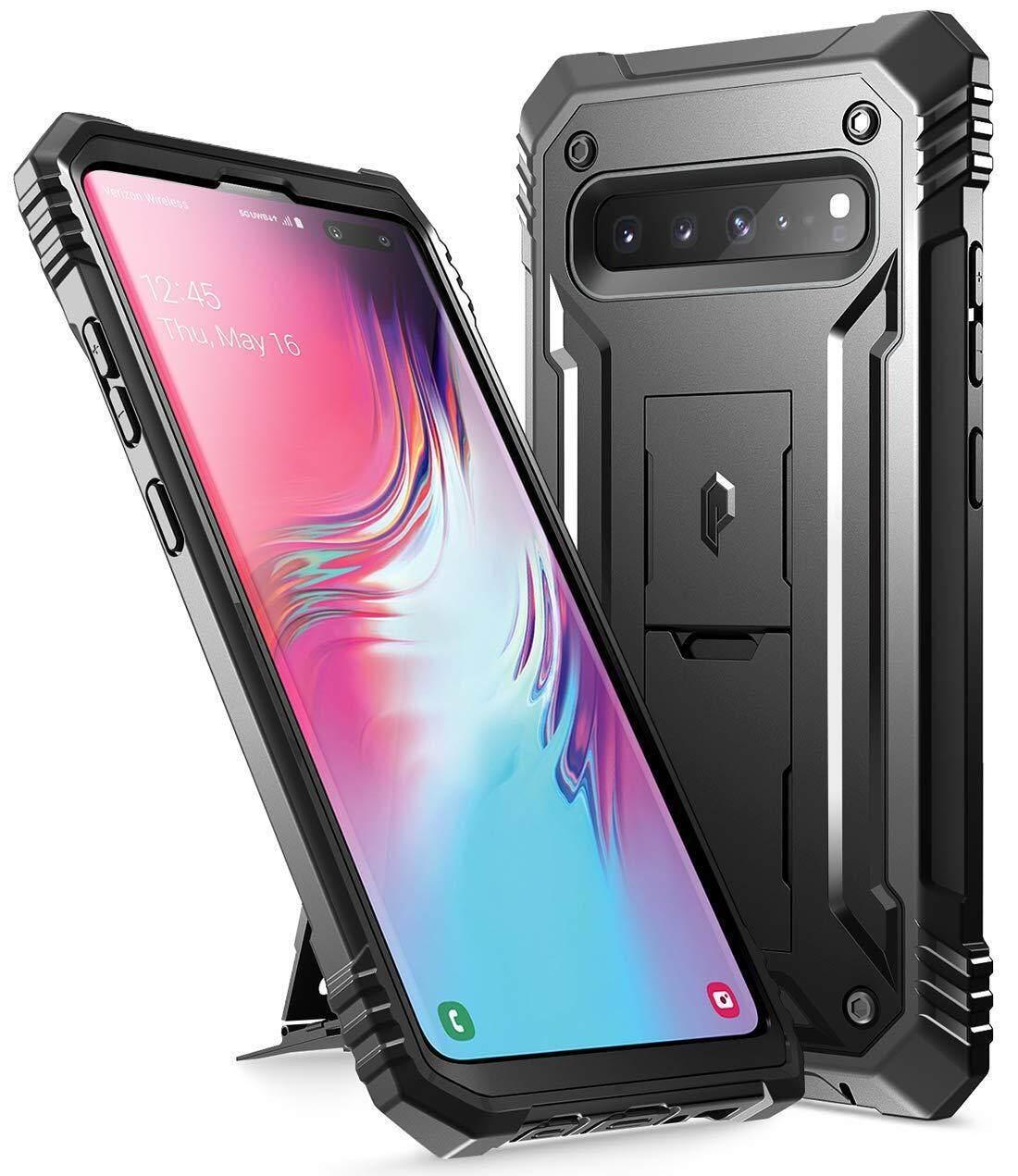 Galaxy S10 5G Kasar Case dengan Kickstand Puitis Tubuh Penuh Dual-Layer Pelapis Pelindung Tahan Goncang, tanpa Built-In-Pelindung Layar, Revolusi, untuk Samsung Galaxy S10 5G 6.7 Inch (2019)