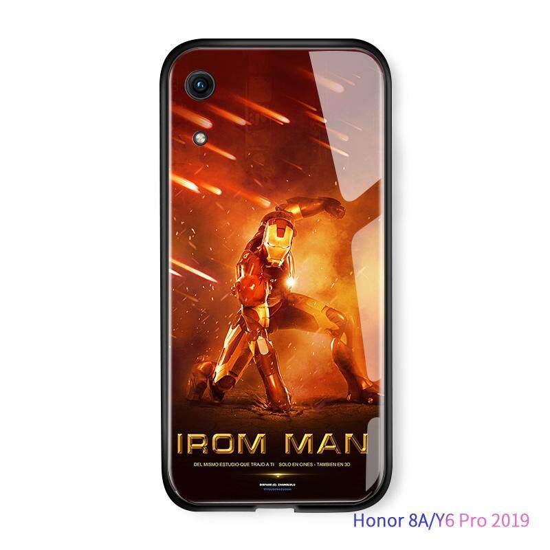 Hontinga untuk Kehormatan Y6 Pro 2019 8A Marvel Manusia Super Avenger Ironman Robert Downey Amour Casing Gradient Cover Sarung HP Kaca Keras Casing