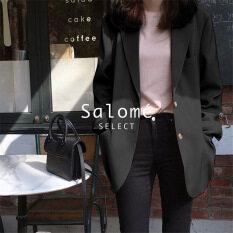 SALOME Áo Khoác Phong Cách Hàn Quốc Cho Nữ Giản Dị Áo Khoác Áo Khoác Nữ Màu Trơn Phụ Nữ 2021 New 011409