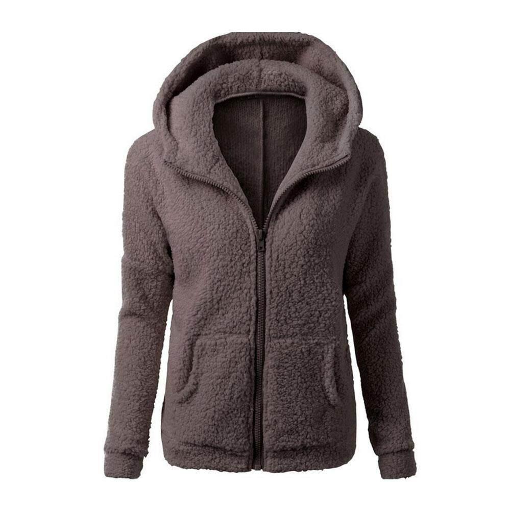 Wanita Jaket Hoodie Kaus Bahan Bulu Domba Lengan Panjang Wanita Hoody  Berkerudung Ritsleting Mantel c7049e0bb1