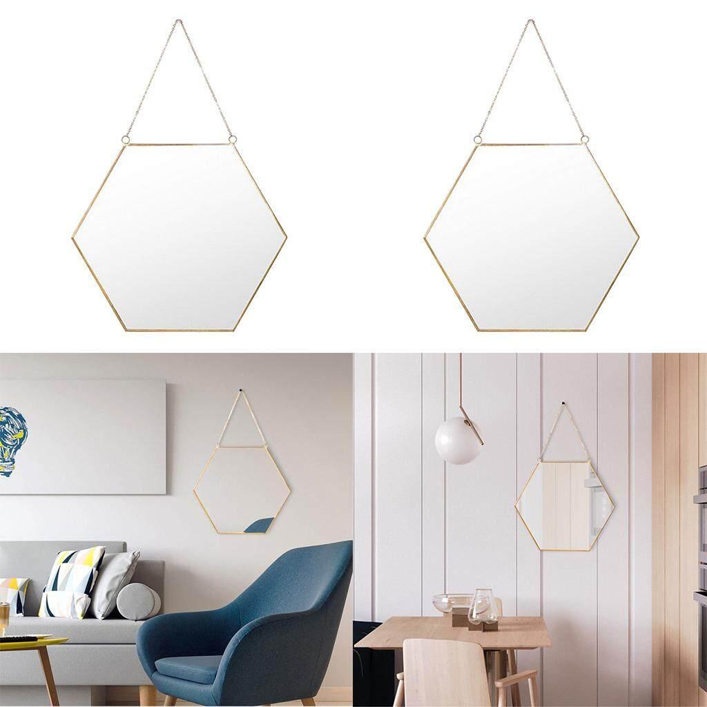 Perfk nordic wrought iron gold dessing mirror bathroom hanging wall mirror 2pcs b