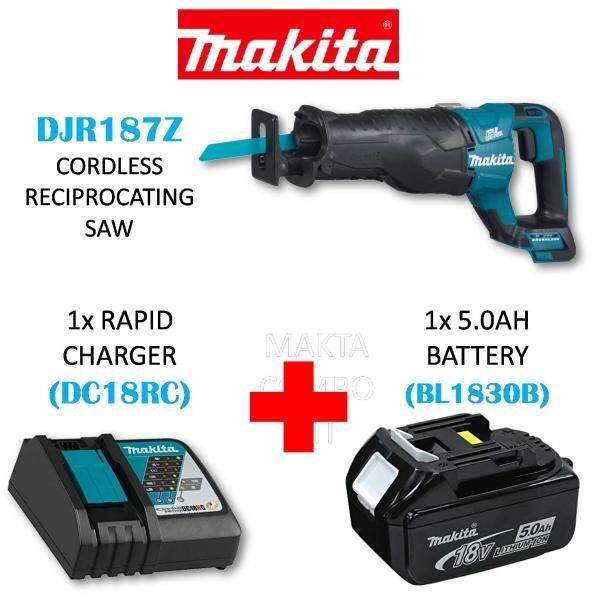 MAKITA DJR187Z CORDLESS RECIPROCATING SAW(SOLO) C/W 1x RAPID CHARGER(DC18RC) + 1x 5.0AH(BL1850B) BATTERY