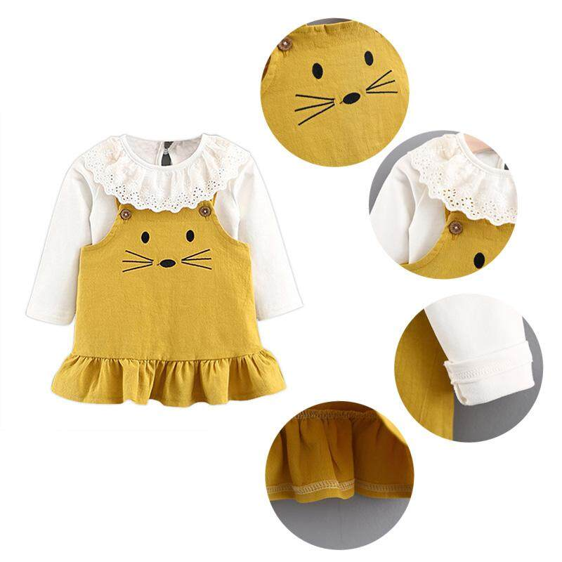 c446c0b80d9e1 Baby Girls Cute Mouse Cartoon White Lapel Shirt Straight Harness Dress  Children Fall Warm Clothes Princess's Dress