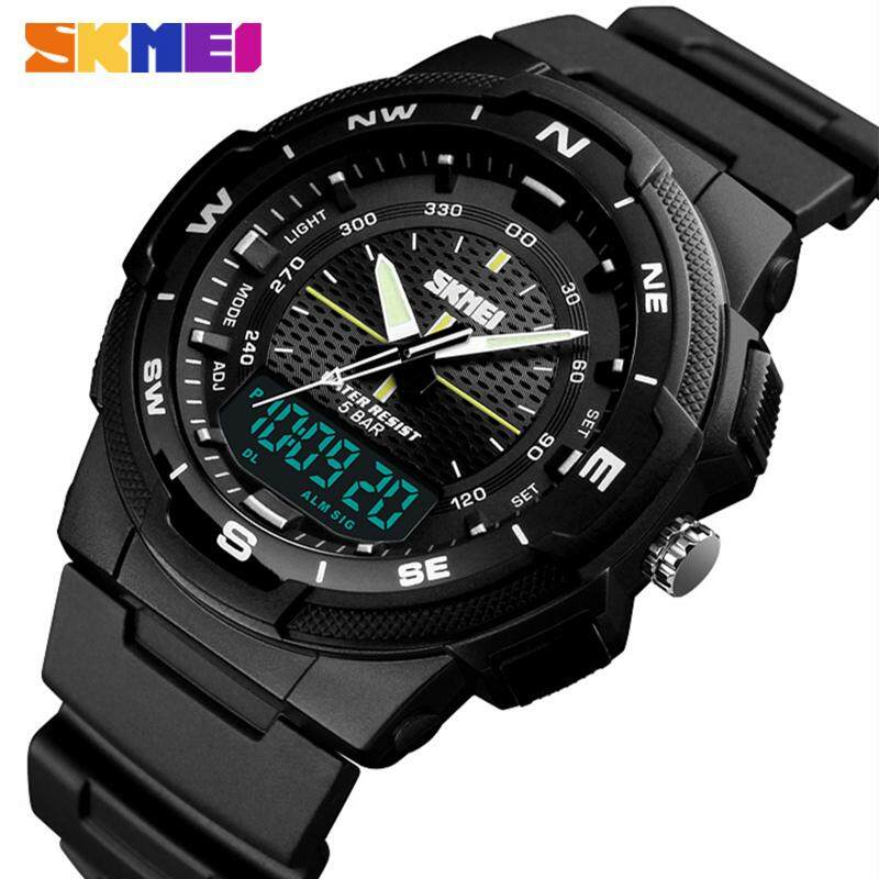 SKMEI Brand Military Mens Outdoor Sports 50M Waterproof Watch Multi-Function Digital 12/24 Chronograph Clock PU Wristband Mens Quartz Clock Male Watch Malaysia
