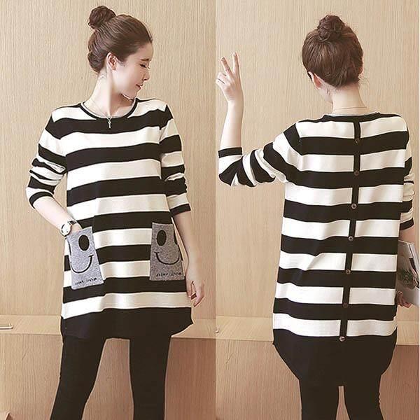 01e9328c300 Miorie Long Sleeve Stripe Button Down Maternity Pregnant Shirt Dress