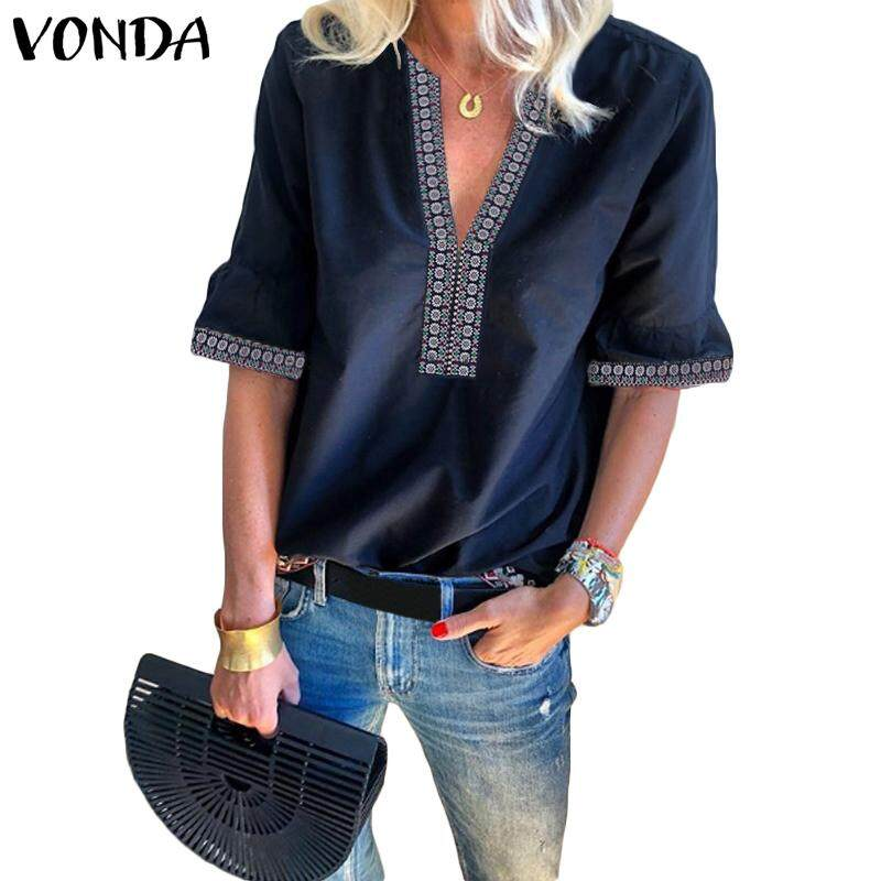 Vonda Women Short Sleeve V Neck Shirt Embroidery Floral Retro Casual Tunic Blouse Top By Vonda Official Store.