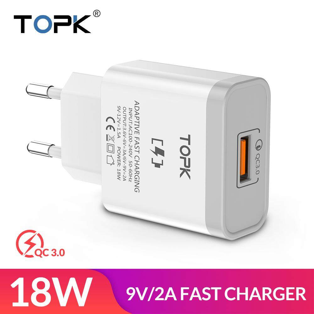 TOPK 18W Quick Charge 3.0 Fast Mobile Phone Charger EU Plug Wall USB Charger Adapter for