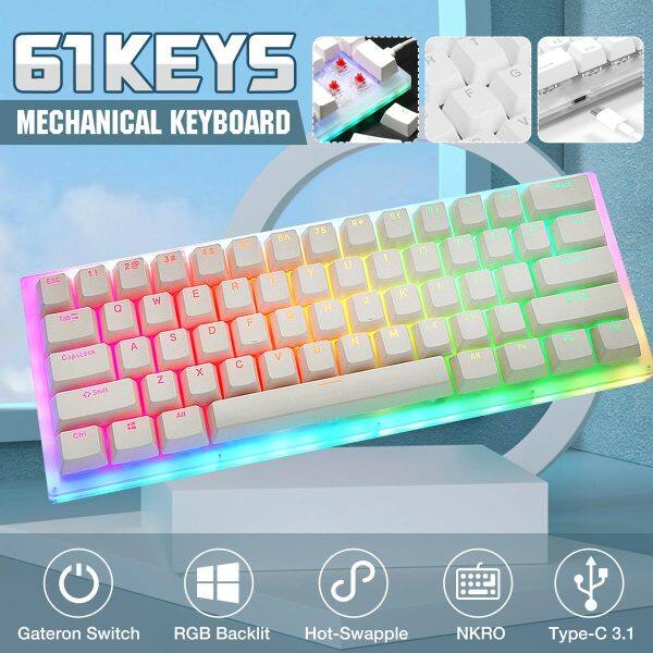 【FBL Stock】GamaKay K61 61 Keys Mechanical Gaming Keyboard Hot Swappable Type-C 3.1 Wired USB Translucent Glass Base Gateron Switch ABS Two-color Keycap NKRO RGB Gaming Keyboard