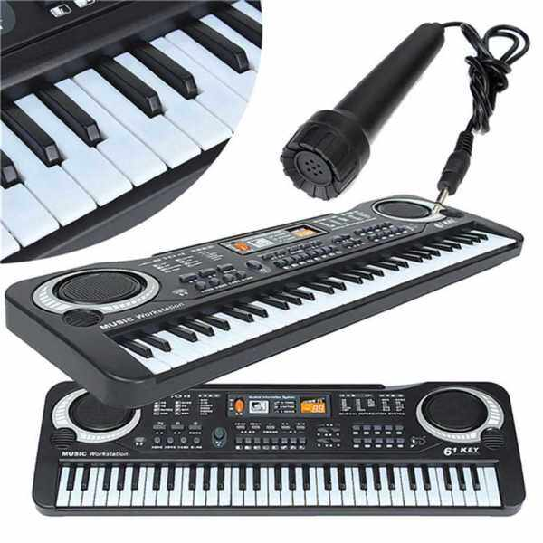 Multifunctional Mini Electronic Piano with Microphone 61 Keys Toy for Children (Black) Malaysia