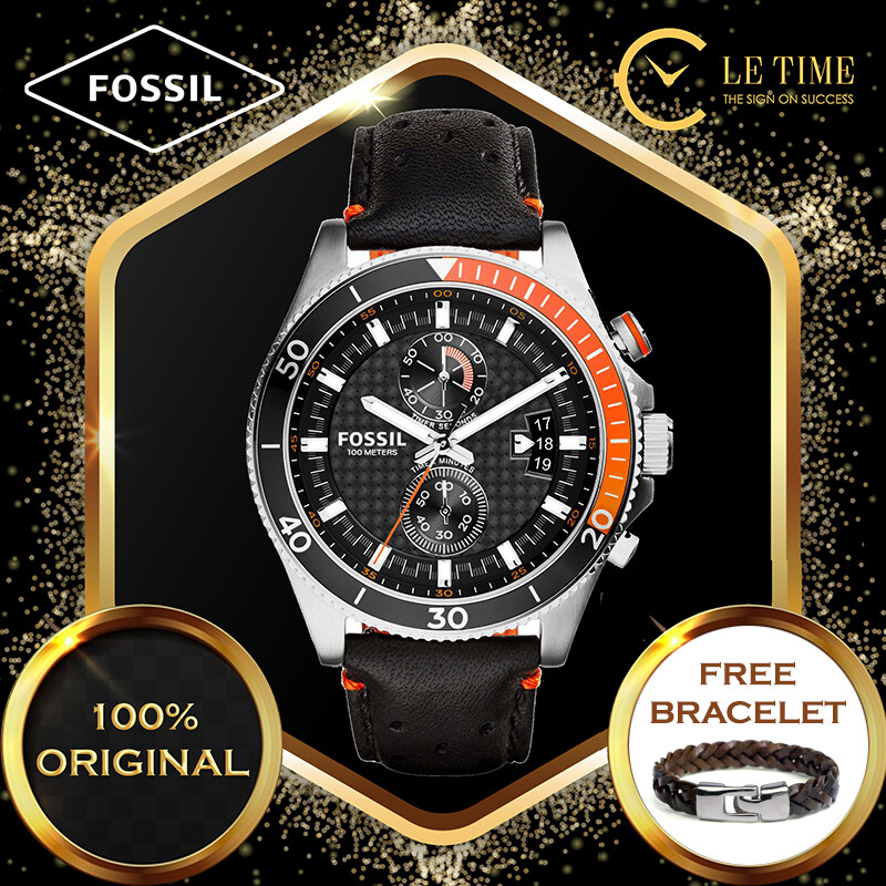 [Authentic *FREE BRACELET*] Fossil Wakefield Chronograph Black Leather Men Watch Jam Tangan Lelaki CH2953 For Man Malaysia