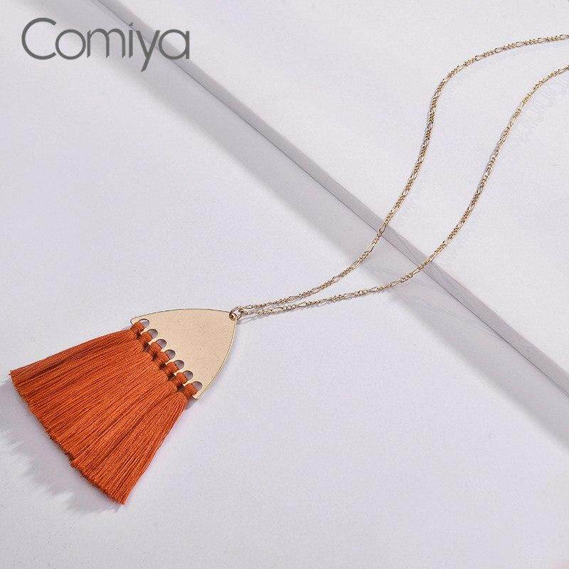Necklace Gold Color Zinc Alloy Kolye Long Rope Tassels Ethnic Pendant Maxi Necklaces Feminino Jewelry Collare Collar By Cehvki.