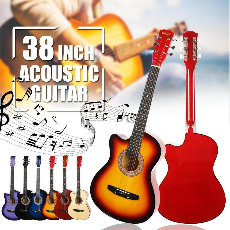 38 Inch Wood Beginners Acoustic Guitar With Guitar Strap Pick Steel Strings Guitar Musical Instruments 4 colors Malaysia