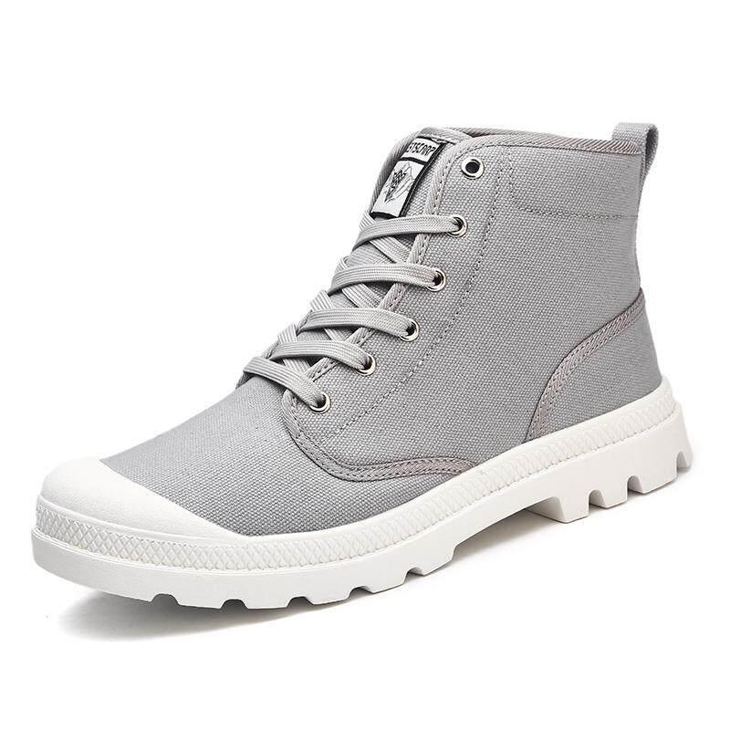 Soaring Autumn Men's Boots Fashion Canvas Shoes High Top 2017 New Military Boots Ankle Rubber Botas Masculina Men Shoes Kasut Kanvas Lelaki (Khaki)