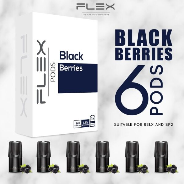 [6pcs In 1 Box] FLEX BLACK BERRIES Flavor Pod 2ML/E-Cigarette Vape Juice E-Liquid Cartridge compatible with relx & sp2 Malaysia