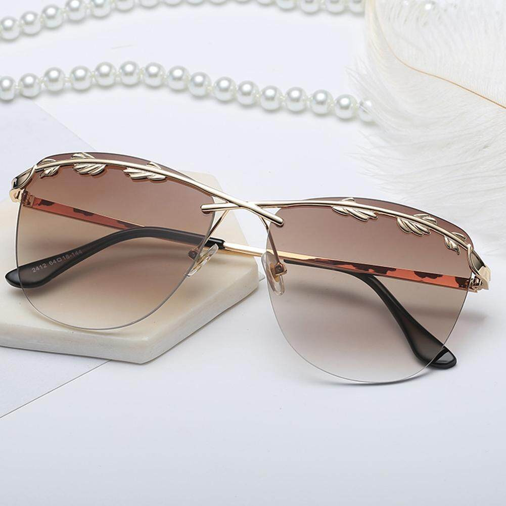 Outdoor Women Sunglasses without Frame Olive Leaf Decoration Sunscreen Glasses Lenses Color:Gradient gray - C1
