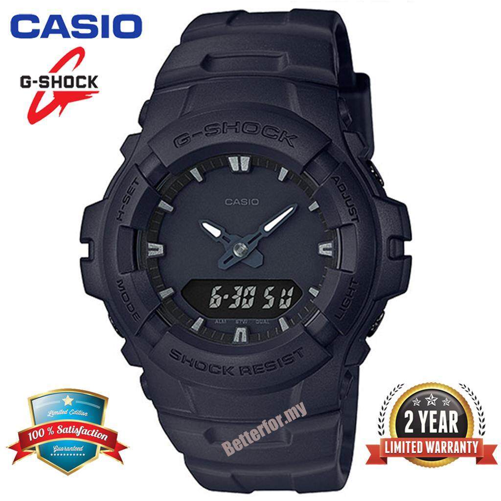 ***(2 Years Warranty) Original Casio G Shock_G-100BB-1A Men Quartz Sport Digital Watch Duo W/Time 200M Water Resistant Shockproof and Waterproof World Time LED Auto Light Wist Sports Watches G100/G-101 Malaysia