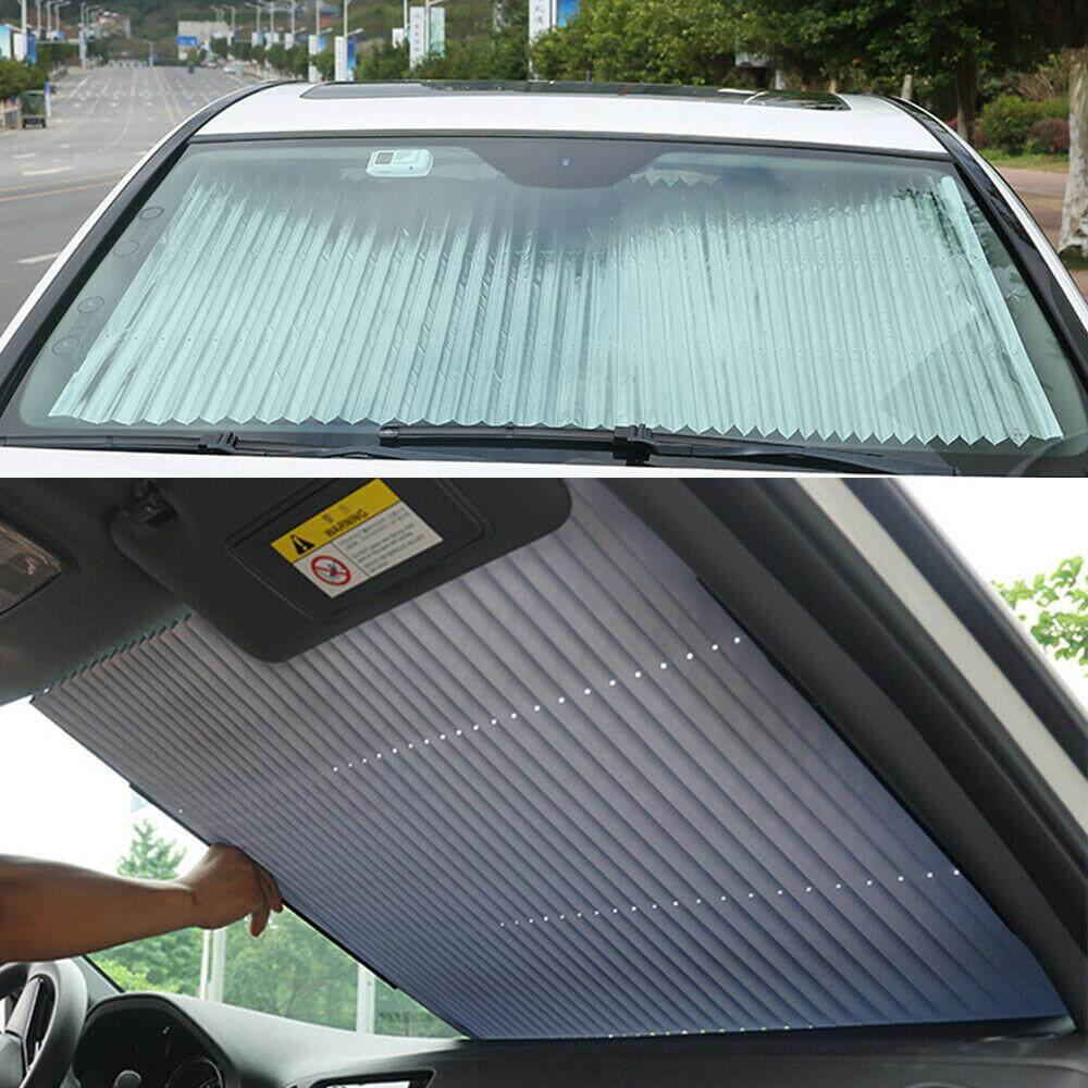 Retractable Car Black Curtain With Uv Protection Front Windshield Visor Decor By Accessories-Home-Garden.