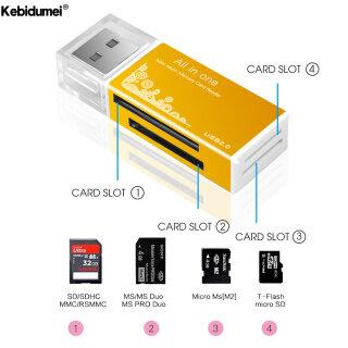 Kebidumei Đầu Đọc Thẻ Nhớ Đa Năng USB 2.0 Tất Cả Trong 1, Đầu Đọc Thẻ Đa MMC RS MMC TF MS MS PRO MS DUO M2 thumbnail