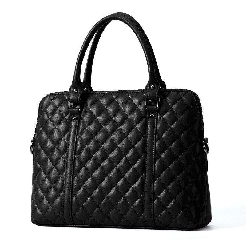 Black Genuine Leather Women Handbag Business Briefcase Bag Womens 14 Inch Laptop Bags Female Cow Leather Diamond Lattice Bag