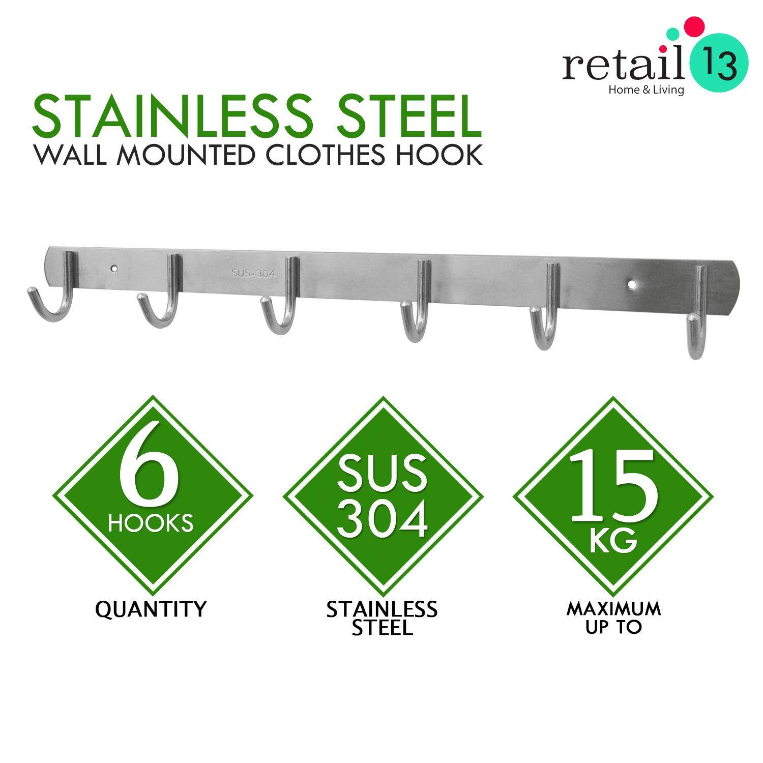6 HOOKS SUS304 STAINLESS STEEL WALL MOUNTED CLOTHES RACK STORAGE BEDROOM, KITCHEN, BATHROOM