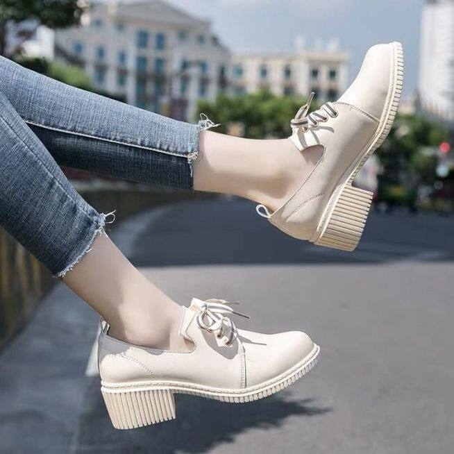 Aurora. An Giày Bệt Nữ Giày Oxford Chống Trượt Thoải Mái Cao Gót 5.5 Giày Da Nhỏ Phong Cách Đại Học Mũ Mũi Tròn Giày Đế Xuồng giá rẻ