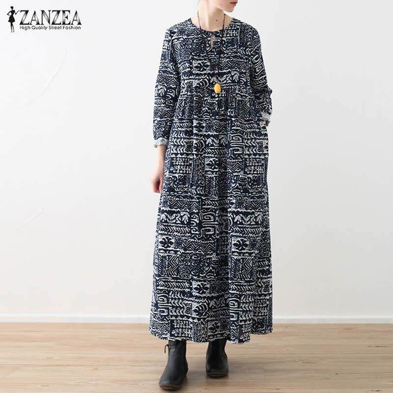 2071544b68fc52 ZANZEA Womens Plus Size Vintage Floral Casual Long Sleeve Dress Kaftan Maxi  Dresses