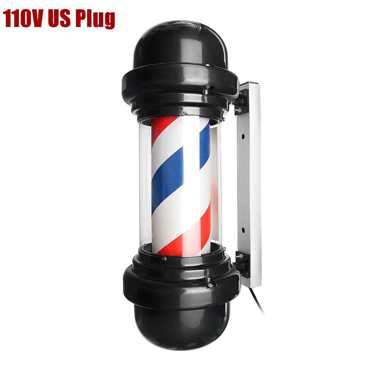 50cm LED Barber Pole Sign Rotating Hair Salon Light Red White Blue Stripe Design