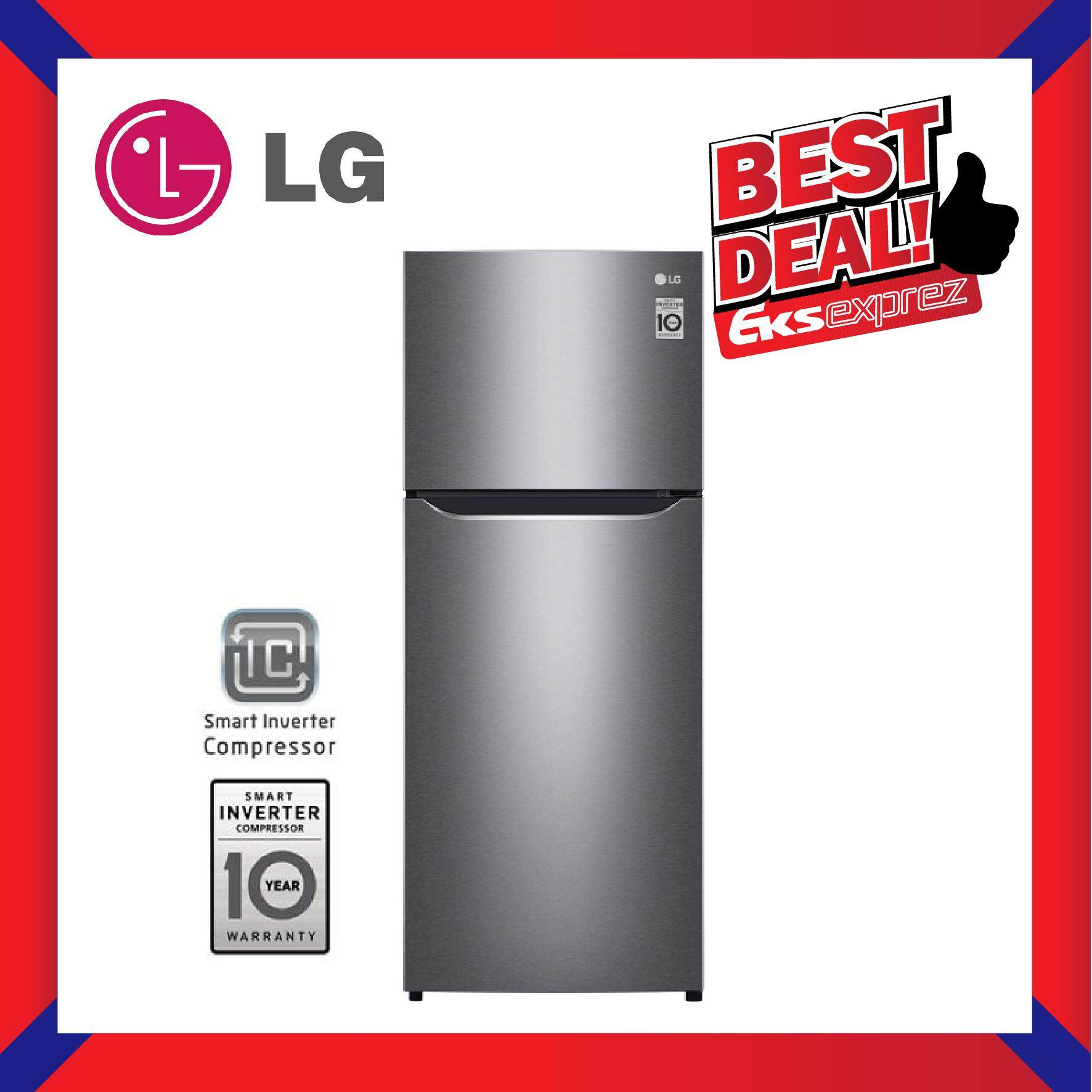 LG GN-B202SQBB 2-Door 205L Dark Graphite Steel Top Freezer Fridge / Refrigerator with Smart Inverter Compressor