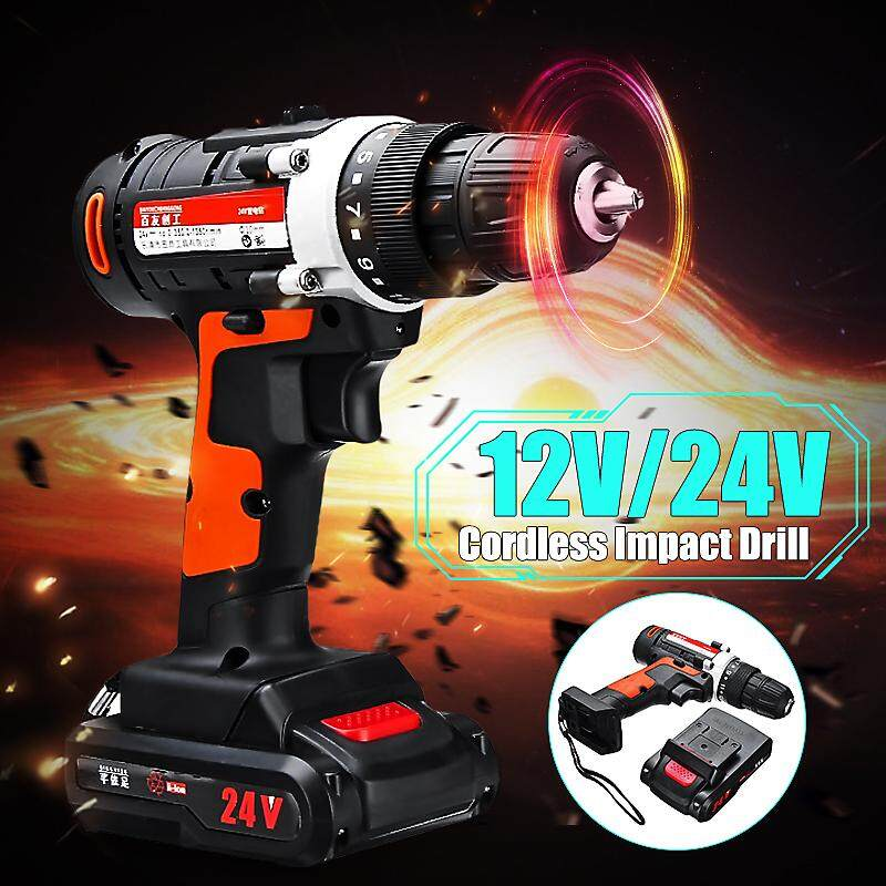 12/24V Brushless Cordless Electric Drill Impact Wrench Tool Rattle Nut Machine Car
