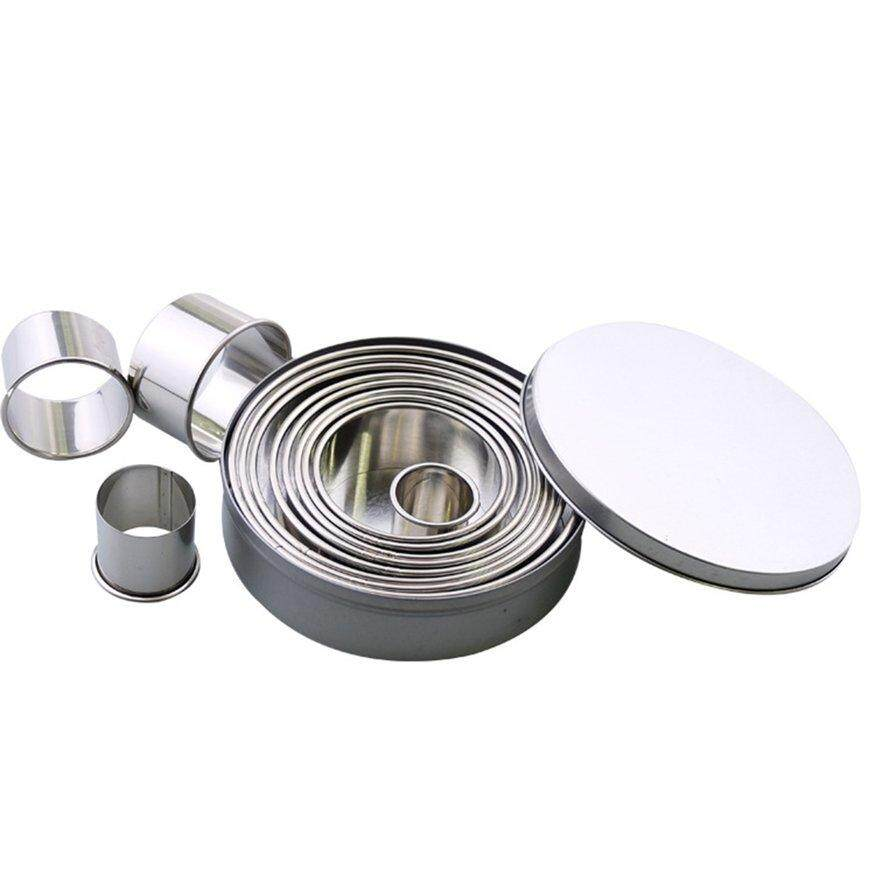 Top Deals 12PCS Stainless Steel Cookie Cutter Big Round Shape Cookie Mold Fondant Jelly Cake Cutter Mousse Rings Baking Tool