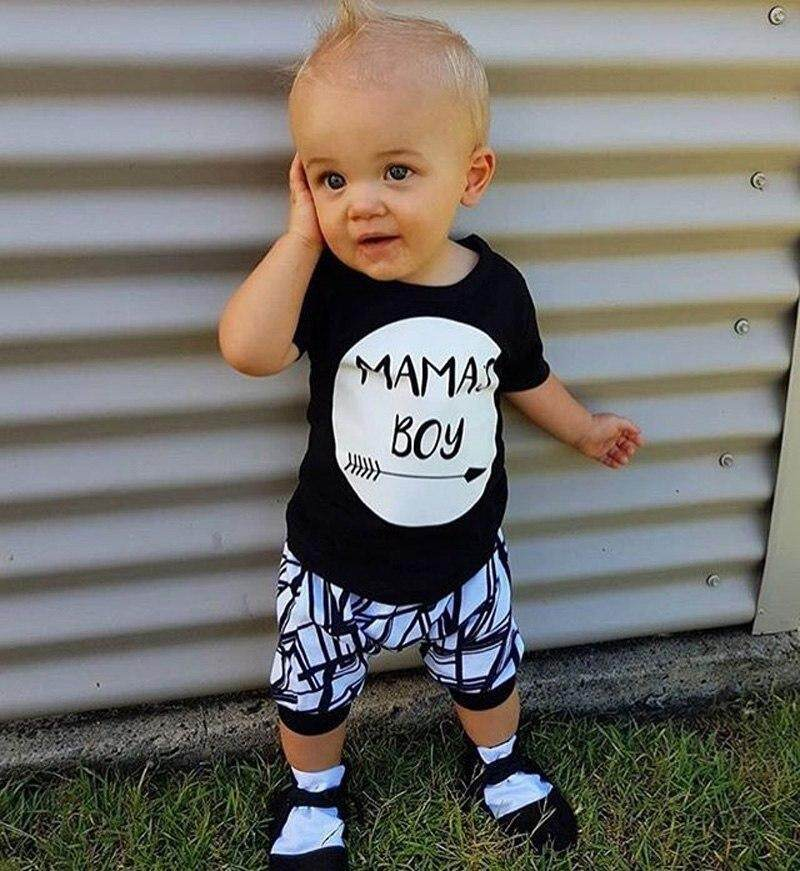 d91e0f456 Infant Baby MAMA'S Boy letter black T-shirt Tops+Pants Outfit baby boy  Clothes