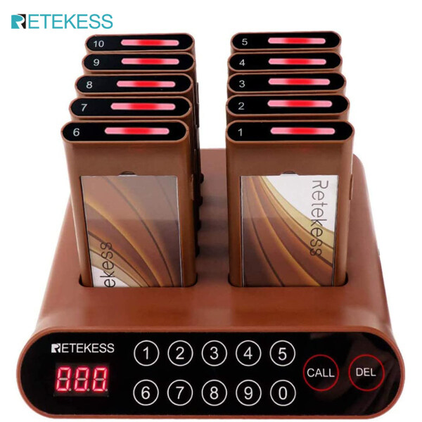 Retekess T116A Pager System Mini Restaurant Buzzers 10 Pagers Touch Screen 20H Long Standby Sound Flash Tips 999 Channels 300 Meters for Restaurant Bar Barbershop Hotel Contactless Waiting Queuing