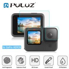 3 Cái PULUZ Cho Gopro HERO 10 Black GoPro9 Ống Kính Đen + Màng Kính Cường Lực Màn Hình LCD