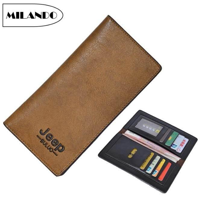 96fde357c44601 MILANDO Men Long Wallet Bifold PU Leather Slim Wallet ID Window Card Case  Clutch (Type