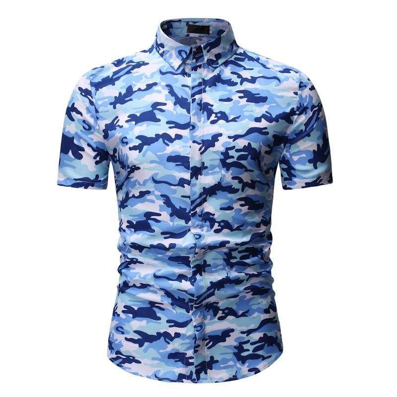 77f0a13f New Fashion Summer Mens Shirt Short Sleeve Print Floral Shirts Men's  Hawaiian Casual Shirt Camouflage Men