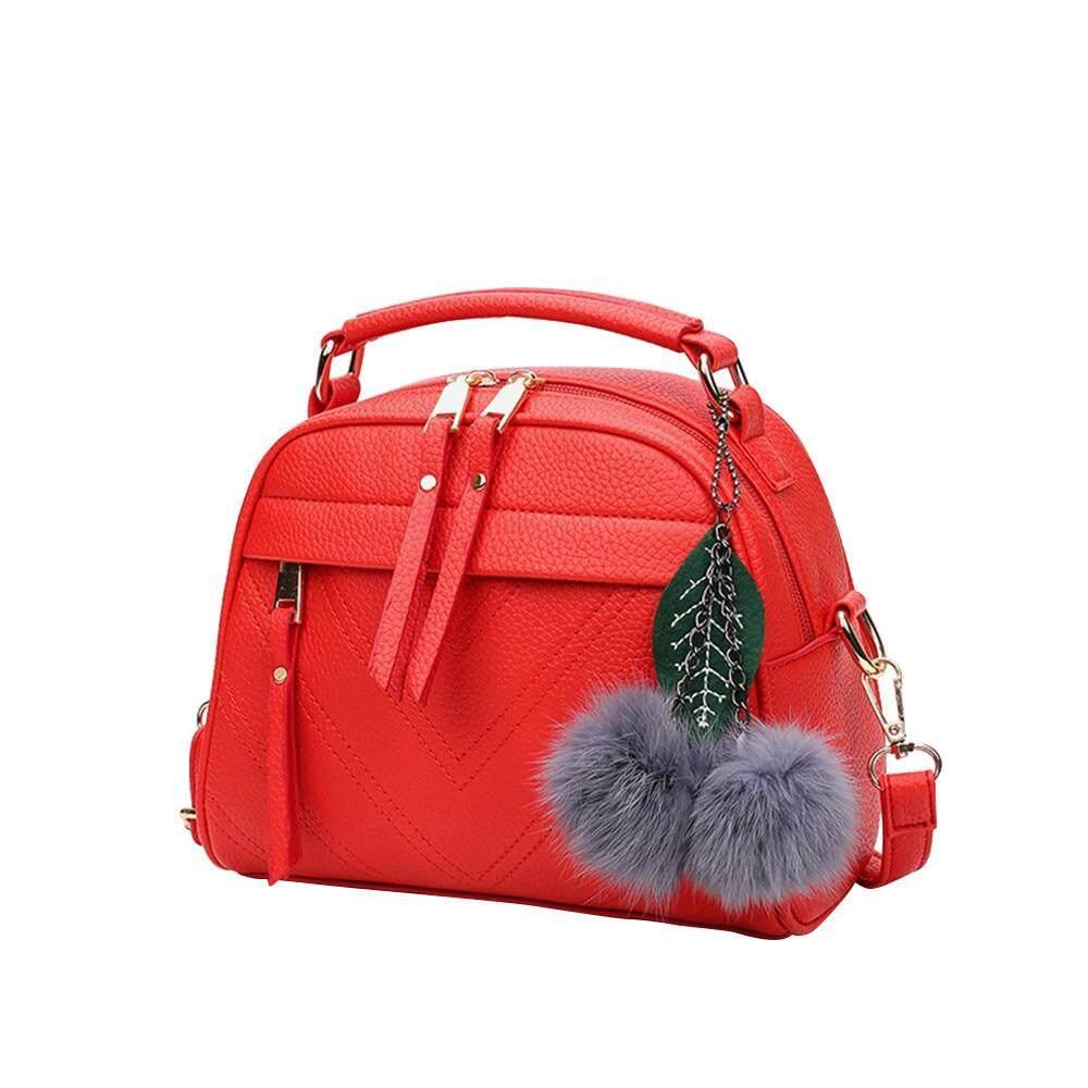 Shop Maison Fabre New Summer Female Bag For Ladies Hair Ball Pendant Fashion Handbag Woman Zipper Single Shoulder Messenger Bag.