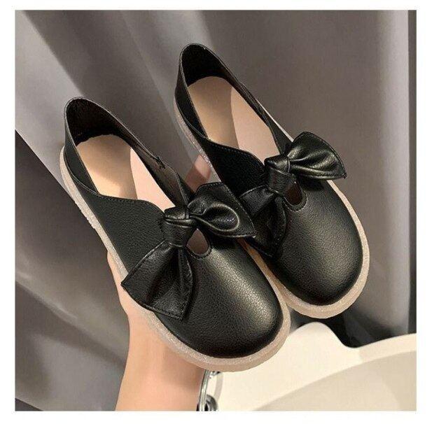 Hai Đôi Giày Nhỏ Màu Trắng Dành Cho Mùa Xuân Và Mùa Thu Giày Nữ Một Bàn Đạp Miệng Nông 2021 Giày Bà Bầu Đế Bằng Mềm Có Nơ Phù Hợp Mọi Kiểu giá rẻ