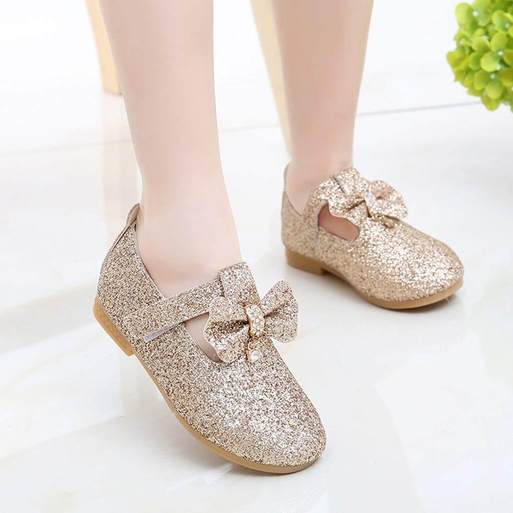 d7ec7db635c3 Tideshop Infant Kids Baby Girls Pendant Bowknot Crystal Bling Sequins  Single Princess Shoes