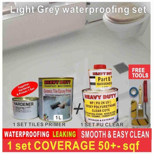 LIGHT GREY WATERPROOFING  SET FOR TOILET FLOOR ( 1L SET WATERPROOFING PRIMER , 1L SET PU CLEAR , FREE TOOLS SET )