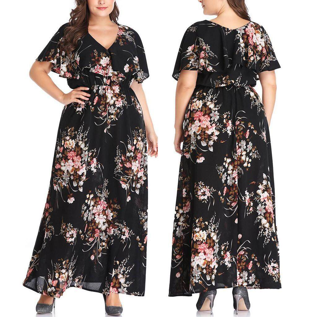 c4b821600e43 Plus Size Fashion Women Floral Printed Short Sleeve V-Neck Casual Long Dress