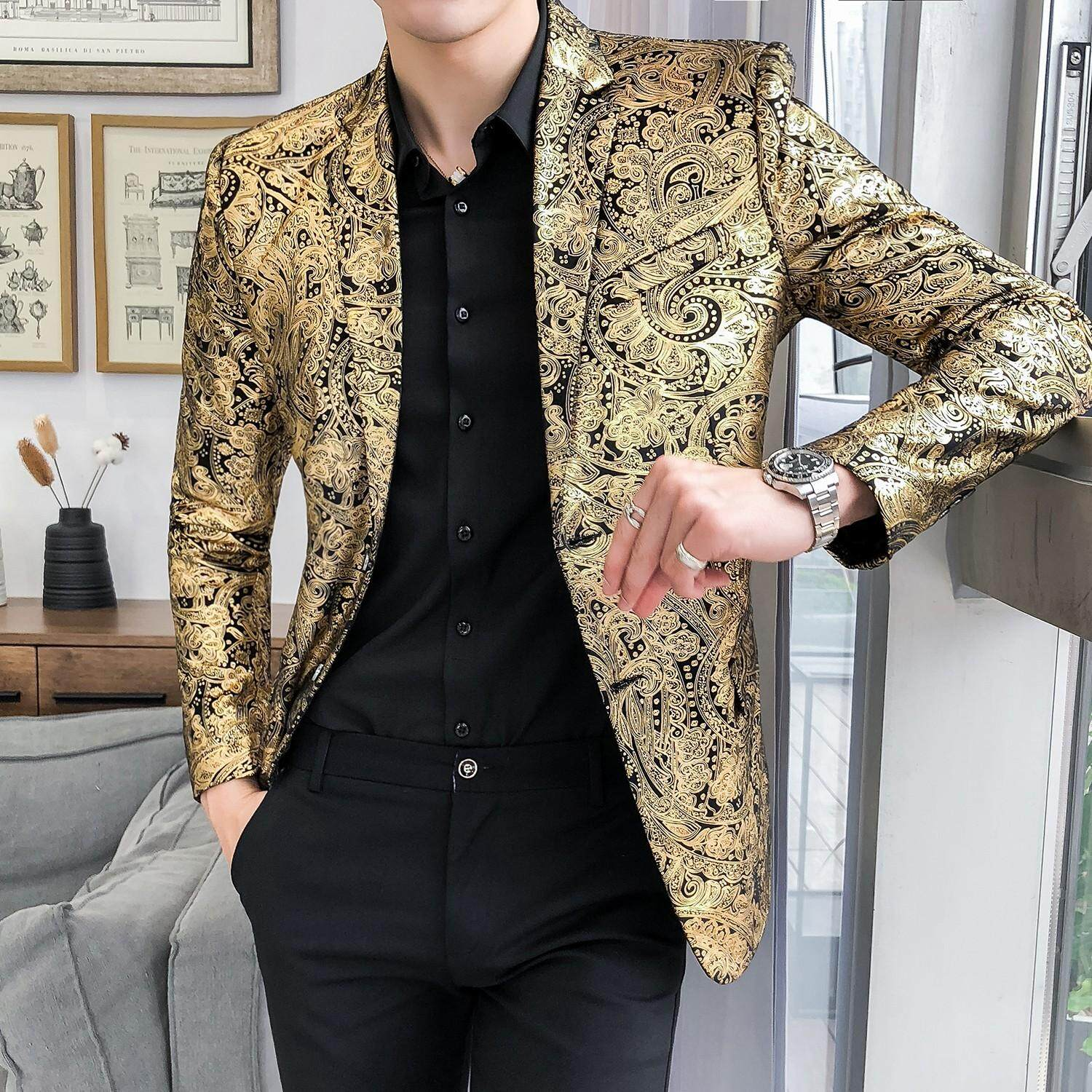 a8ffaff399d Business Casual Mens Blazer Jacket Fashion Flower Wedding Suits For Men Slim  Fit Stage Mens Suits